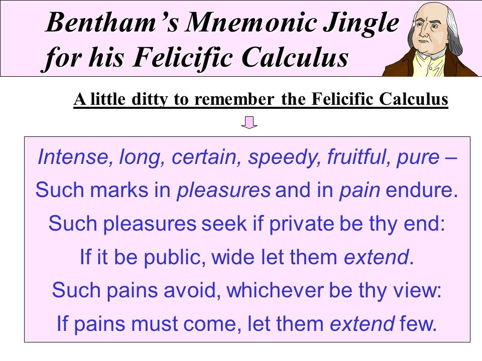 Bentham's Mnemonic Jingle for his Felicific Calculus