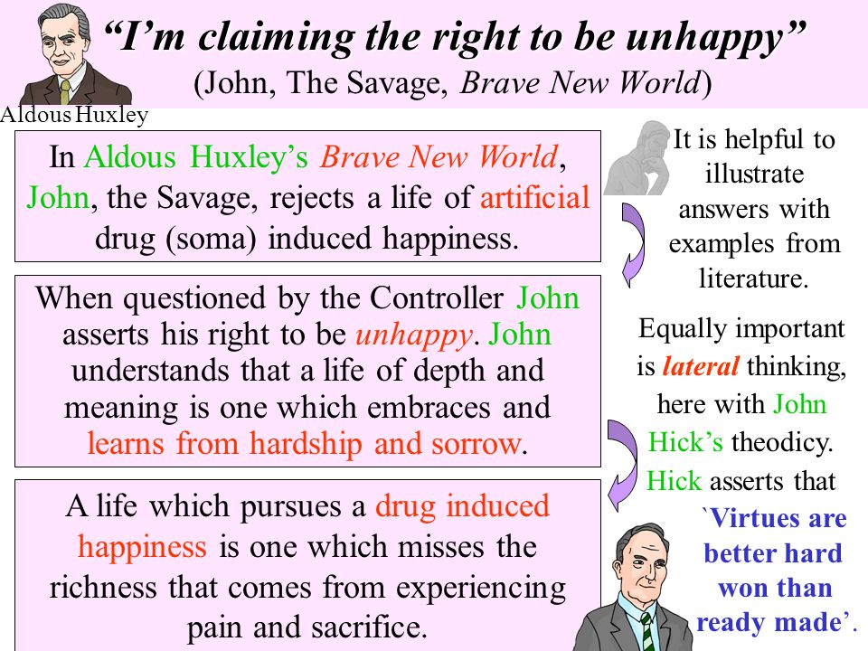 I'm claiming the right to be unhappy (John, The Savage, Brave New World)