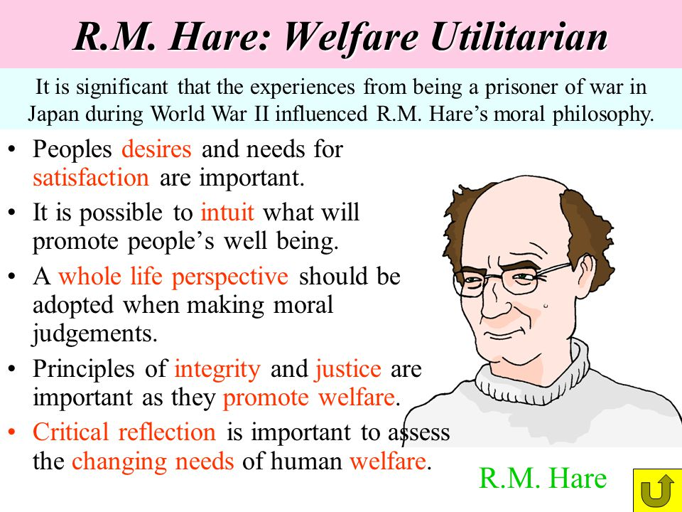 R.M. Hare: Welfare Utilitarian