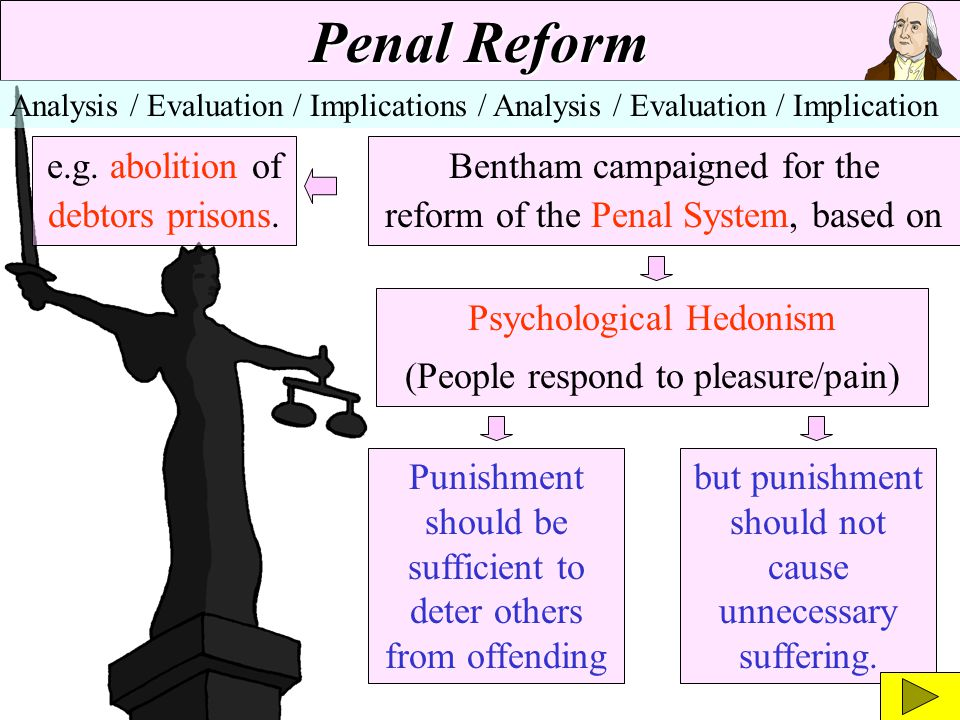 Penal Reform e.g. abolition of debtors prisons.