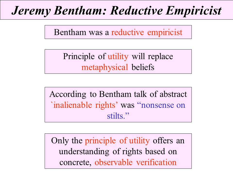 Jeremy Bentham: Reductive Empiricist