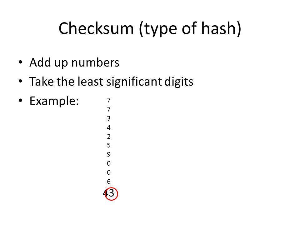 Checksum (type of hash)
