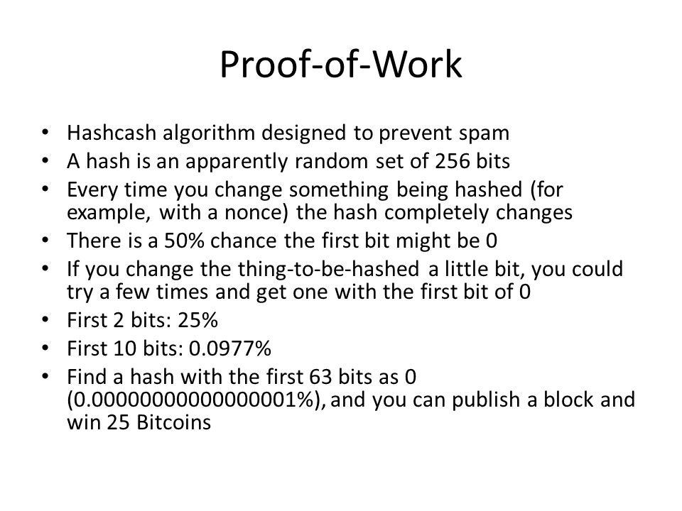 Proof-of-Work Hashcash algorithm designed to prevent spam