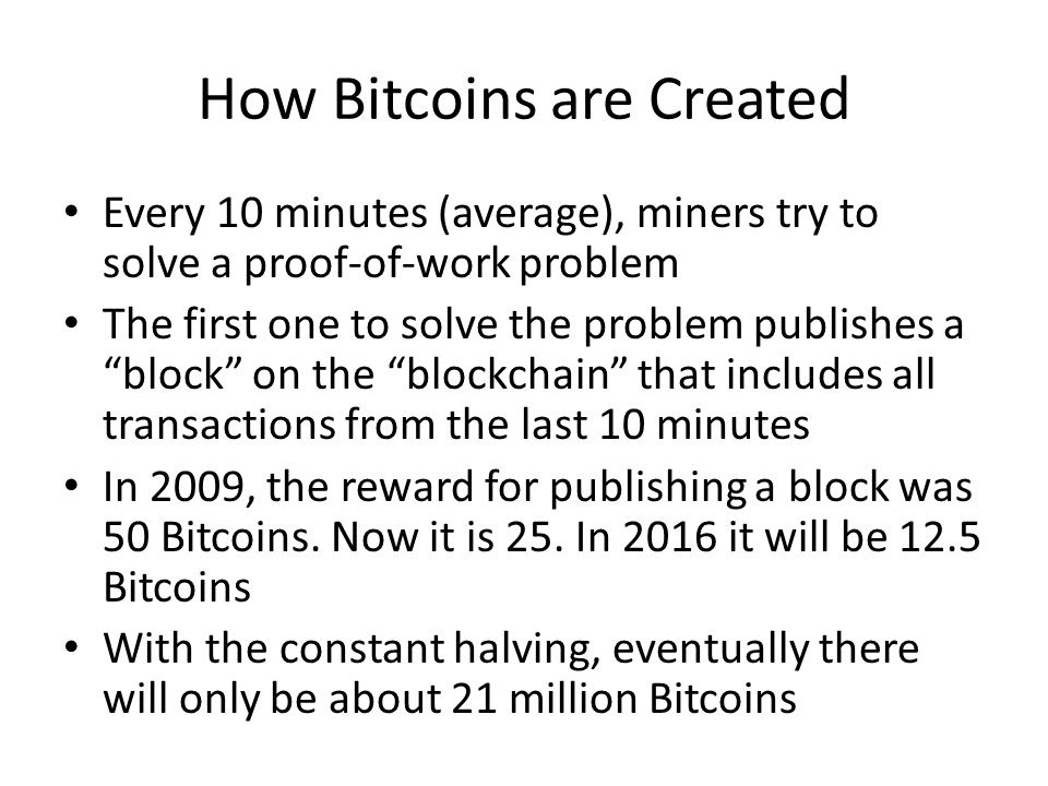 How Bitcoins are Created