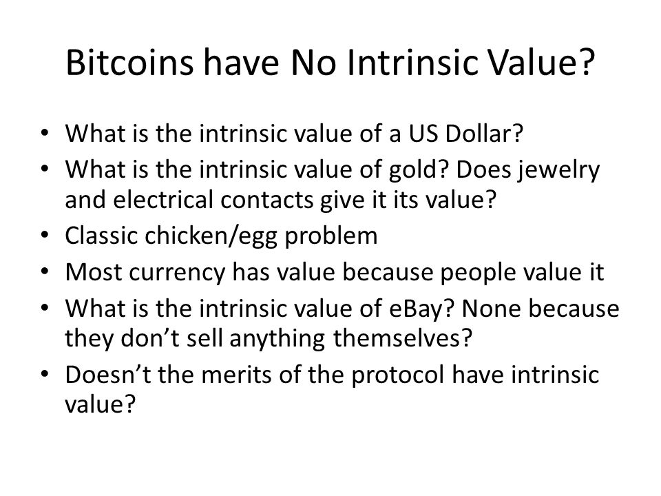 Bitcoins have No Intrinsic Value