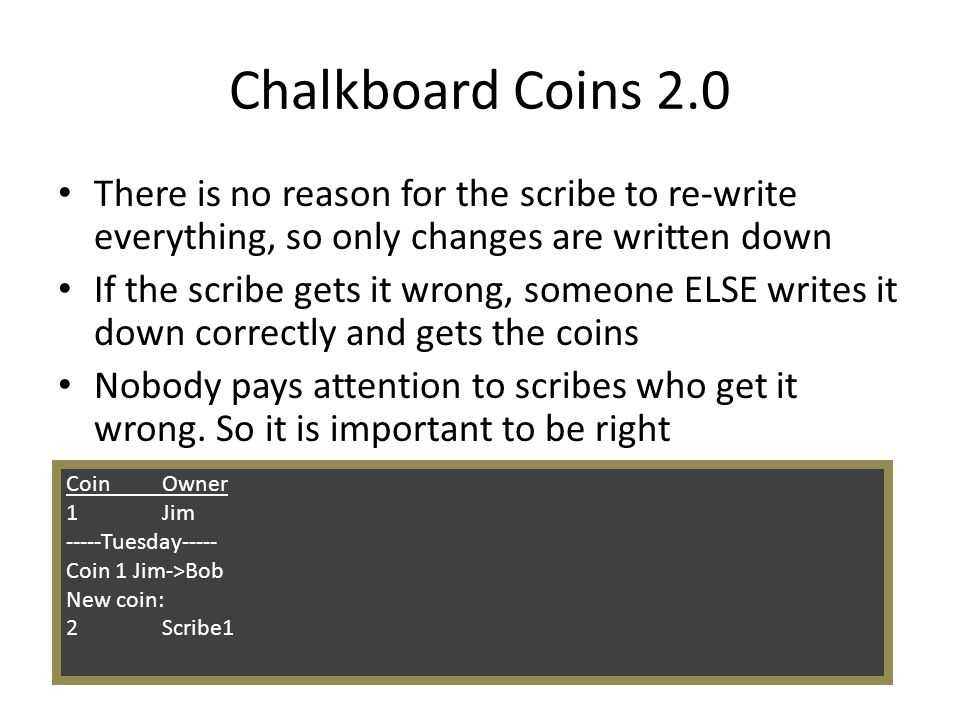 Chalkboard Coins 2.0 There is no reason for the scribe to re-write everything, so only changes are written down.