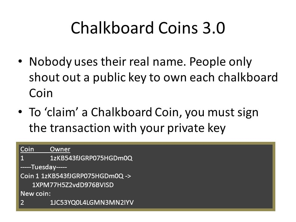 Chalkboard Coins 3.0 Nobody uses their real name. People only shout out a public key to own each chalkboard Coin.
