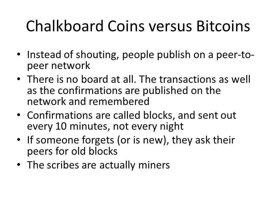 Chalkboard Coins versus Bitcoins