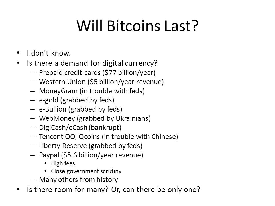 Will Bitcoins Last I don't know.