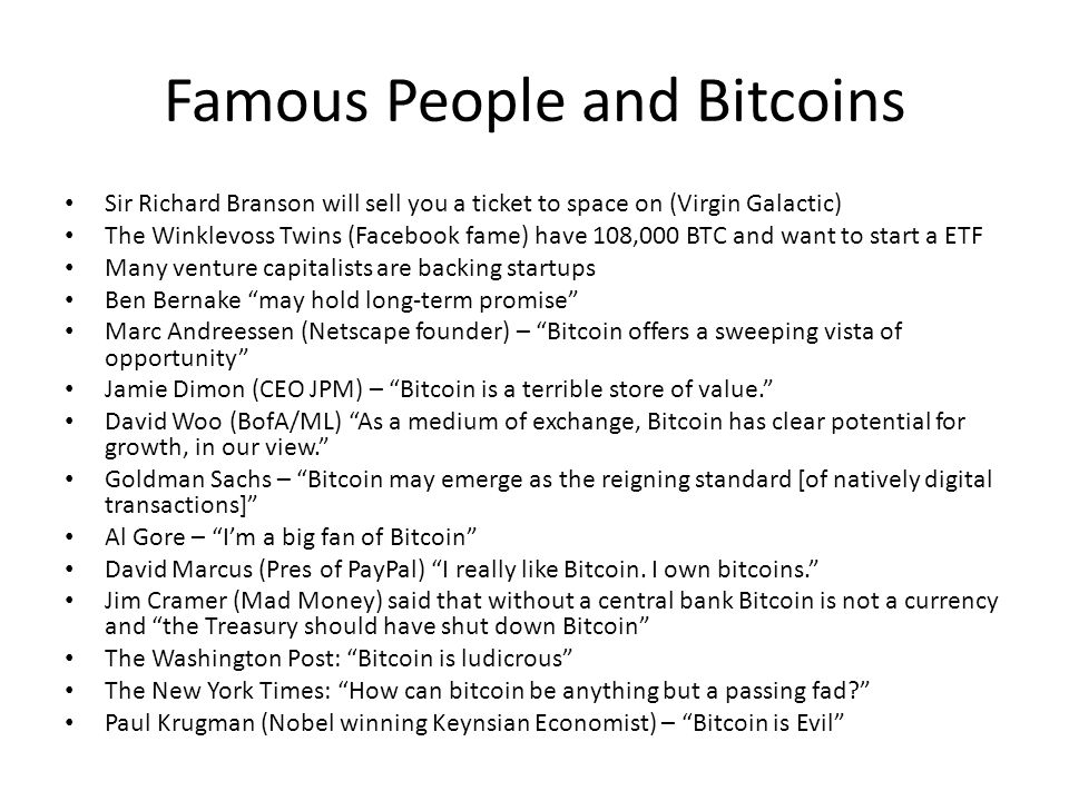 Famous People and Bitcoins