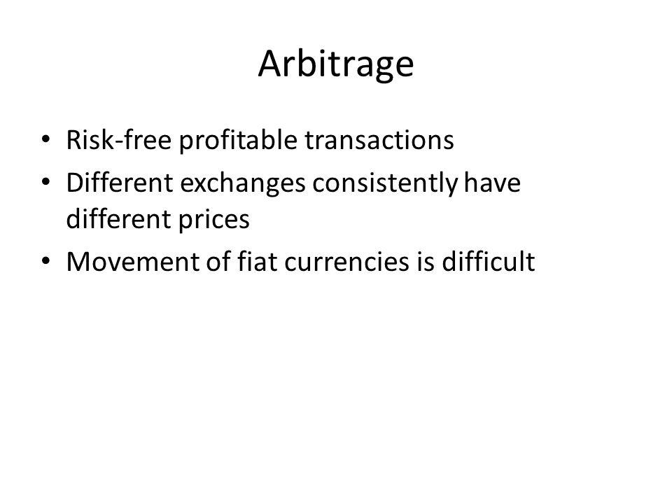 Arbitrage Risk-free profitable transactions