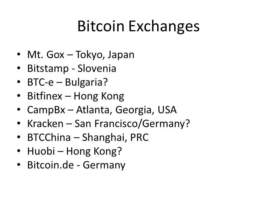 Bitcoin Exchanges Mt. Gox – Tokyo, Japan Bitstamp - Slovenia