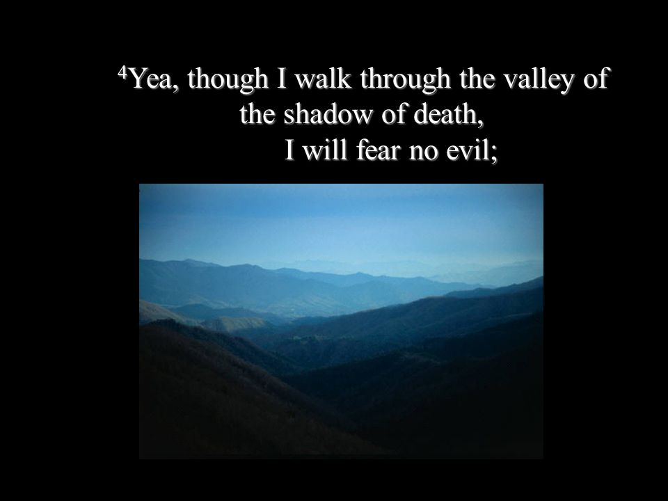 4Yea, though I walk through the valley of the shadow of death, I will fear no evil;
