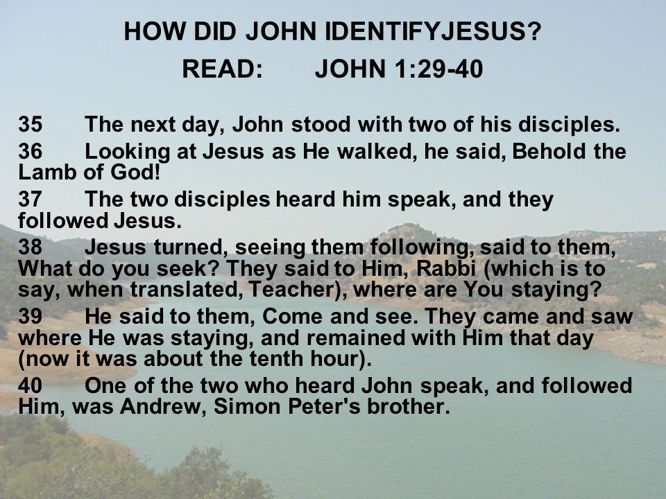 HOW DID JOHN IDENTIFYJESUS