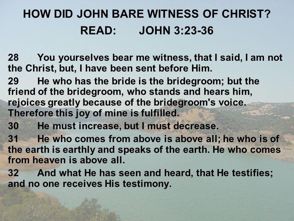 HOW DID JOHN BARE WITNESS OF CHRIST