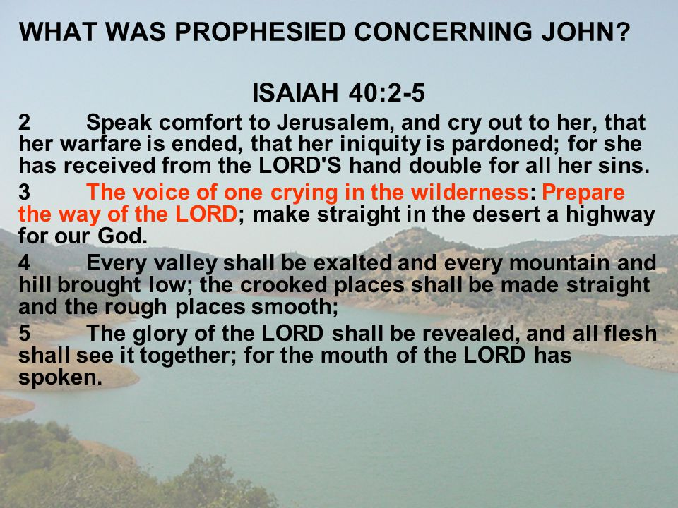 WHAT WAS PROPHESIED CONCERNING JOHN