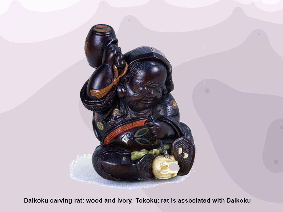 Daikoku carving rat: wood and ivory, Tokoku; rat is associated with Daikoku