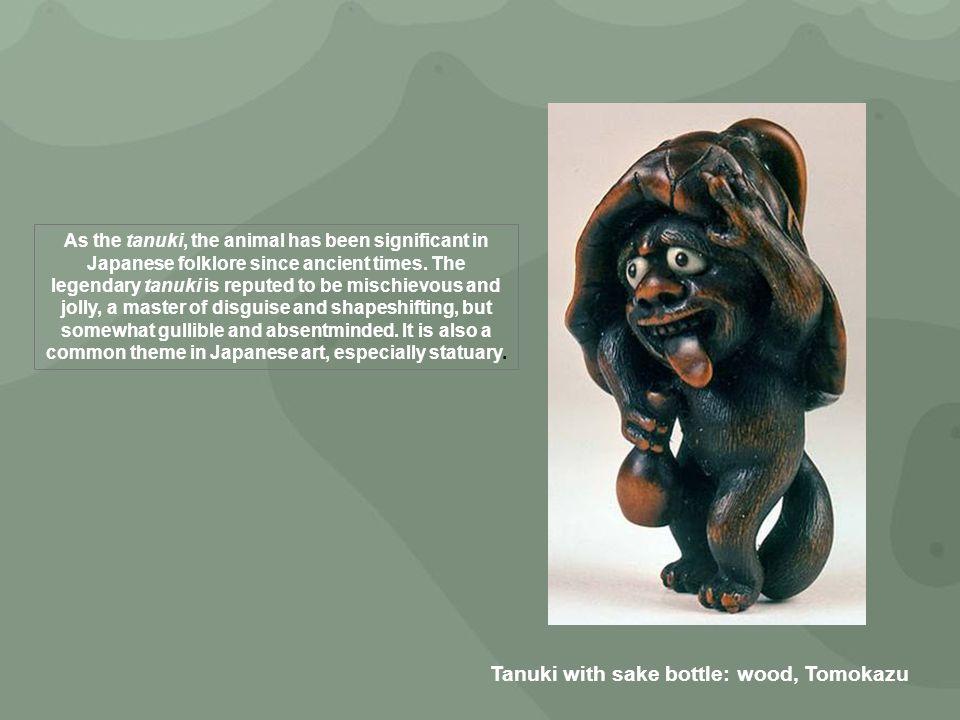 Tanuki with sake bottle: wood, Tomokazu