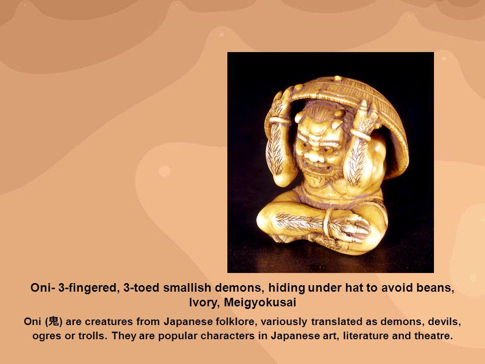 Oni- 3-fingered, 3-toed smallish demons, hiding under hat to avoid beans, Ivory, Meigyokusai