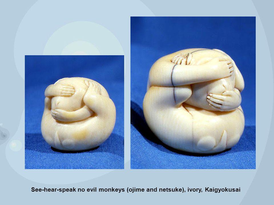 See-hear-speak no evil monkeys (ojime and netsuke), ivory, Kaigyokusai