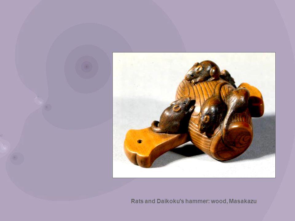 Rats and Daikoku s hammer: wood, Masakazu