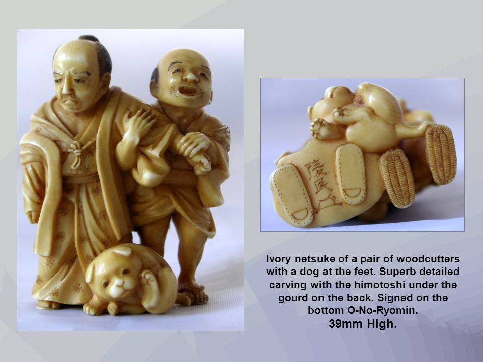 Ivory netsuke of a pair of woodcutters with a dog at the feet