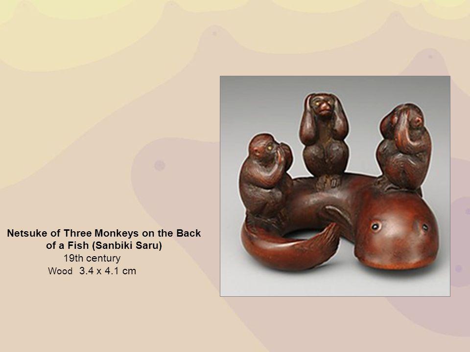 Netsuke of Three Monkeys on the Back of a Fish (Sanbiki Saru)