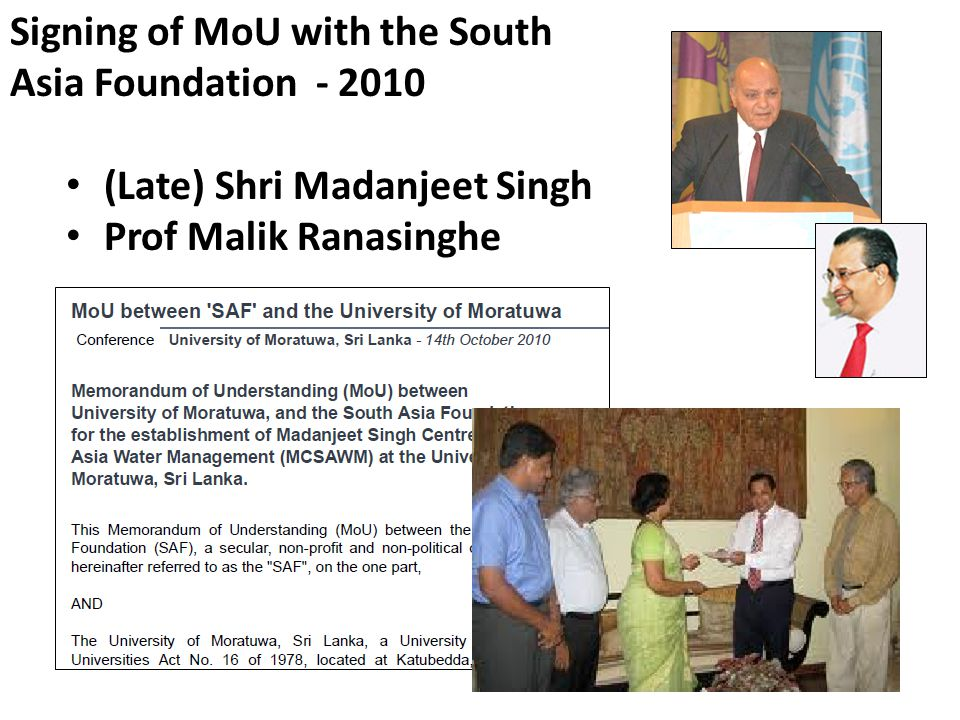 Signing of MoU with the South Asia Foundation - 2010