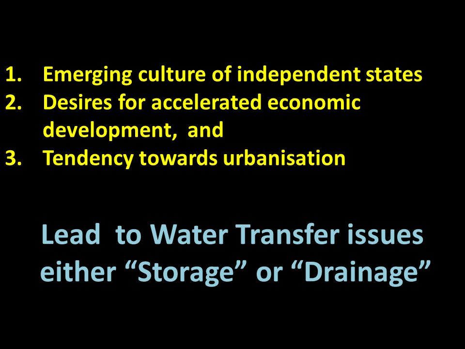 Lead to Water Transfer issues either Storage or Drainage