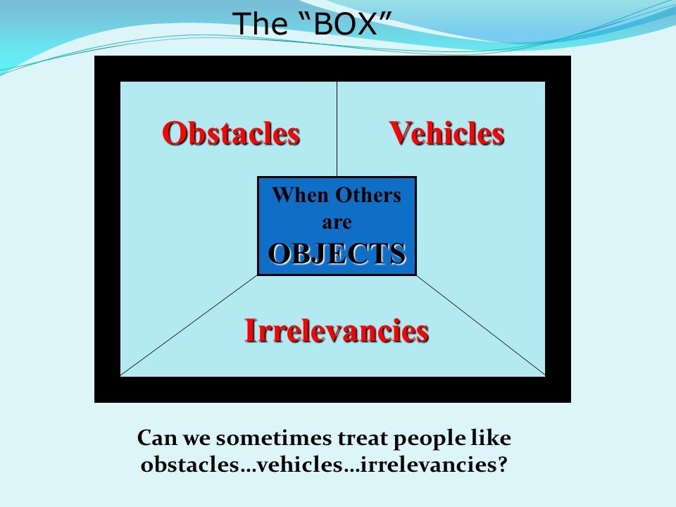 Can we sometimes treat people like obstacles…vehicles…irrelevancies