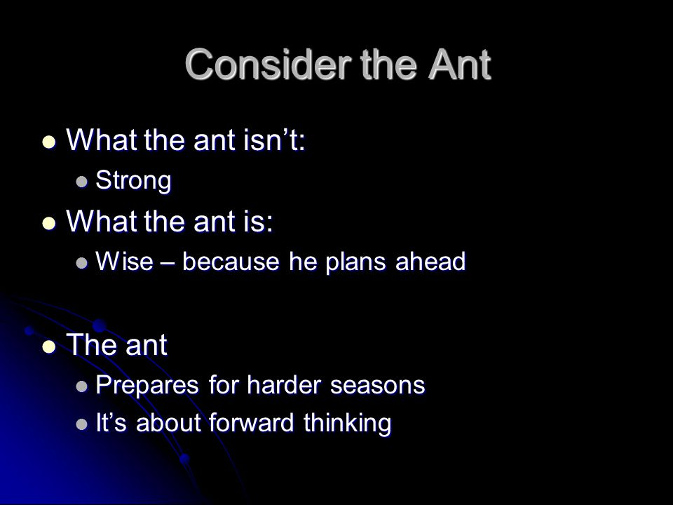 Consider the Ant What the ant isn't: What the ant is: The ant Strong