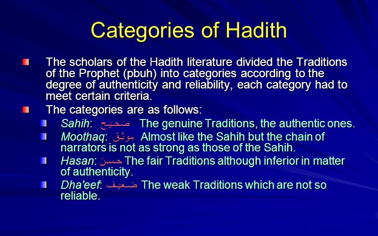 Categories of Hadith