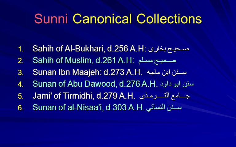 Sunni Canonical Collections