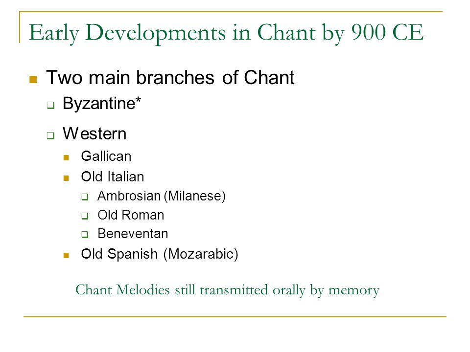 Early Developments in Chant by 900 CE