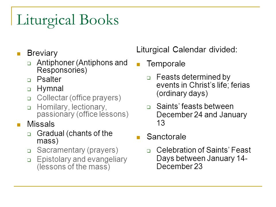 Liturgical Books Liturgical Calendar divided: Breviary Temporale