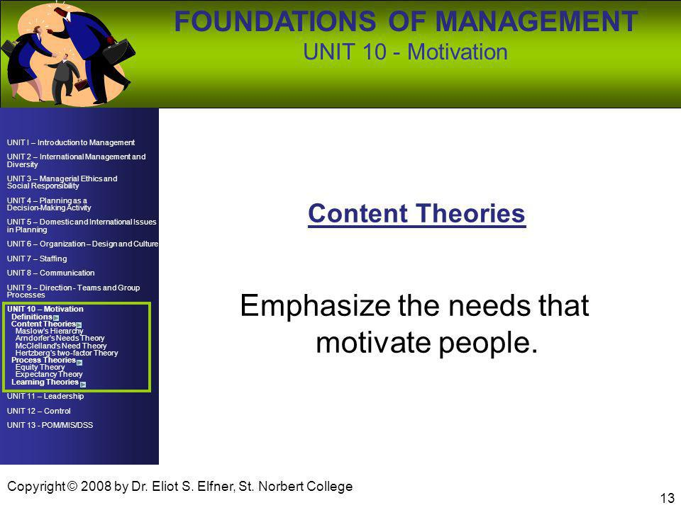 UNIT 10 - Motivation Emphasize the needs that motivate people.