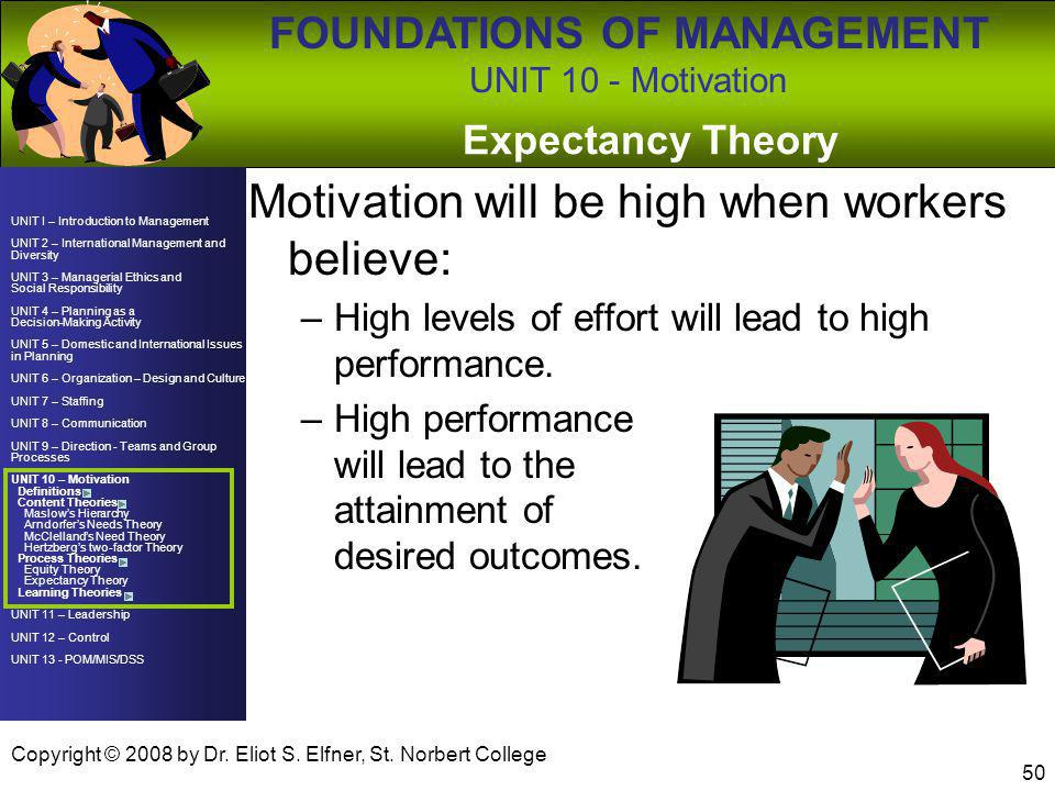 Motivation will be high when workers believe: