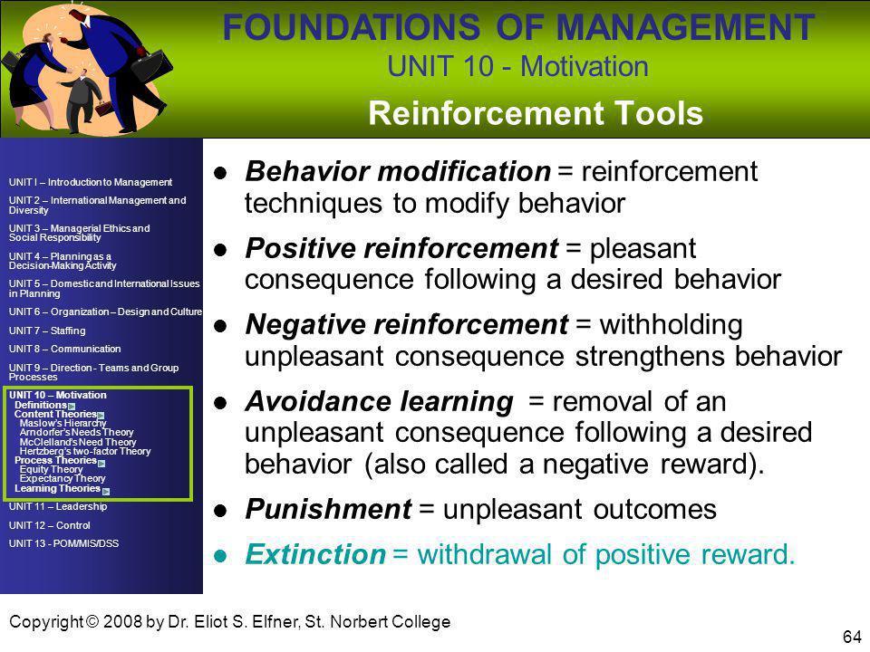 UNIT 10 - Motivation BUAD 230 C, Fall 2008. Reinforcement Tools. Behavior modification = reinforcement techniques to modify behavior.