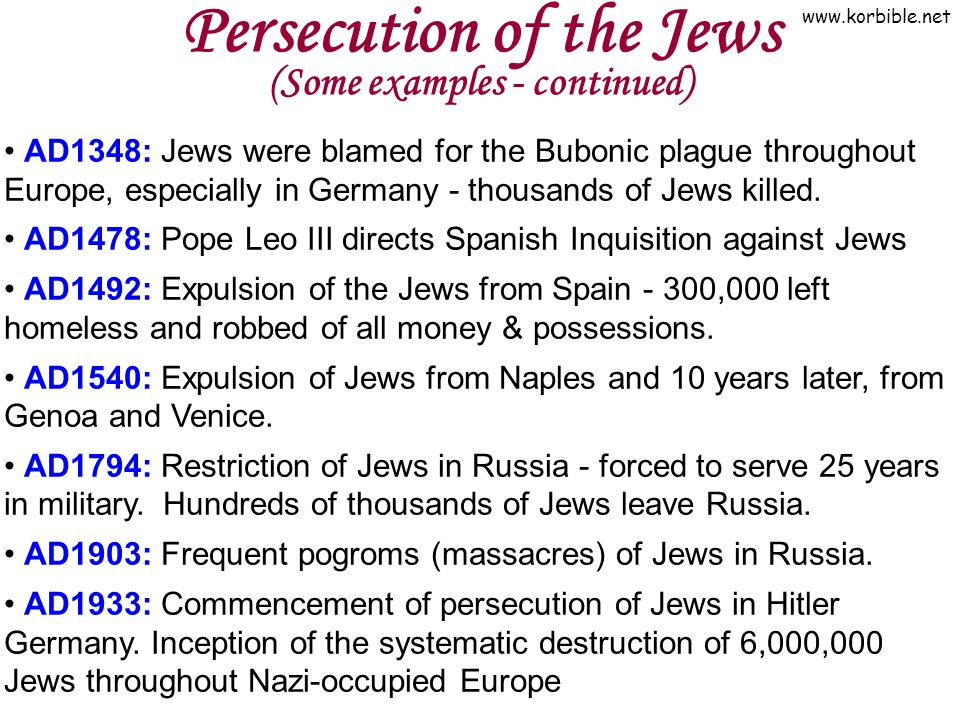 Persecution of the Jews (Some examples - continued)
