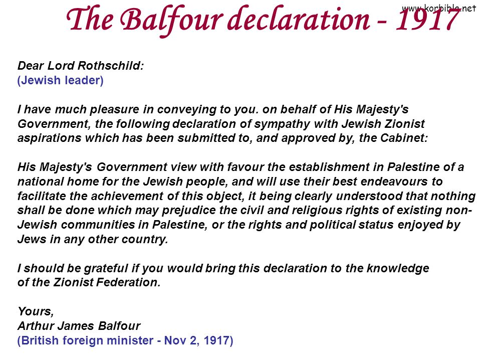 The Balfour declaration - 1917