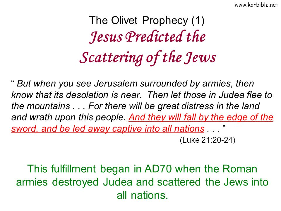 The Olivet Prophecy (1) Jesus Predicted the Scattering of the Jews