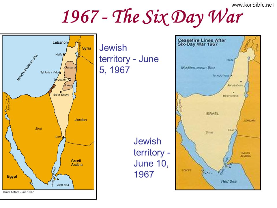 1967 - The Six Day War Jewish territory - June 5, 1967