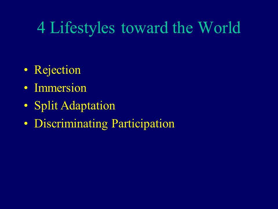 4 Lifestyles toward the World
