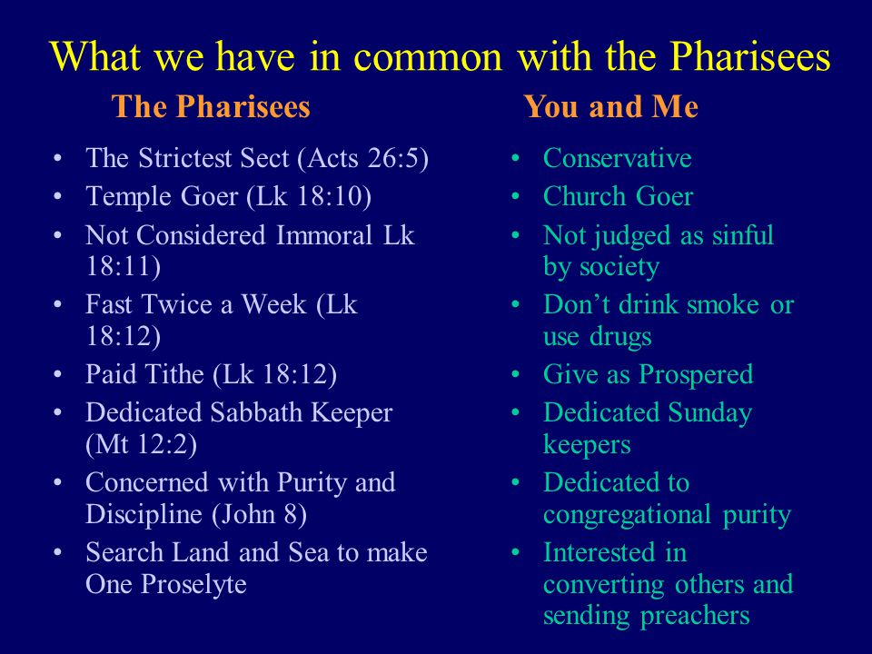 What we have in common with the Pharisees