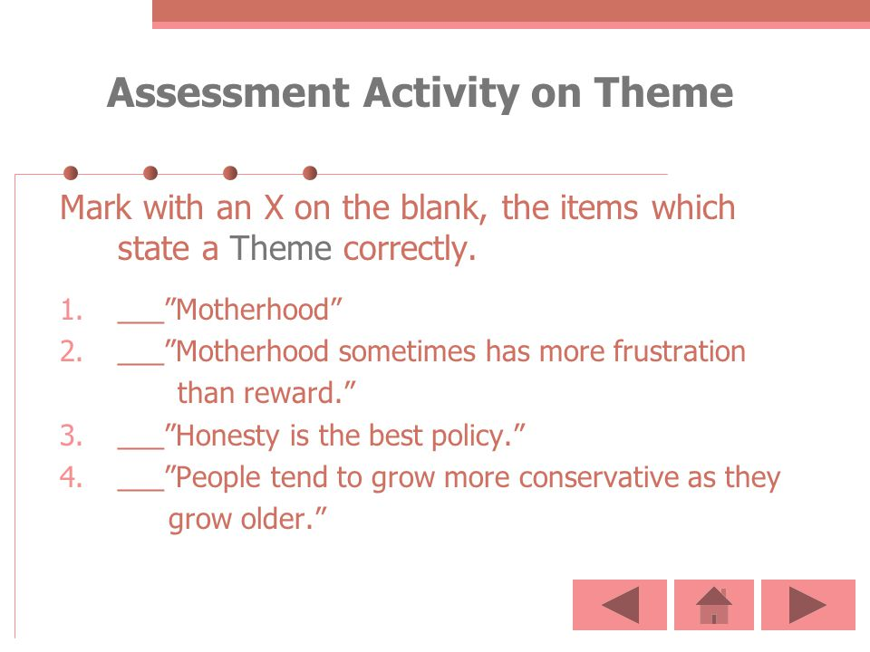 Assessment Activity on Theme