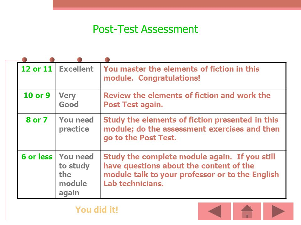 Post-Test Assessment You did it! 12 or 11 Excellent