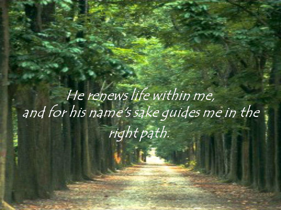 He renews life within me, and for his name s sake guides me in the right path.