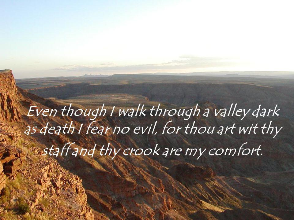Even though I walk through a valley dark as death I fear no evil, for thou art wit thy staff and thy crook are my comfort.