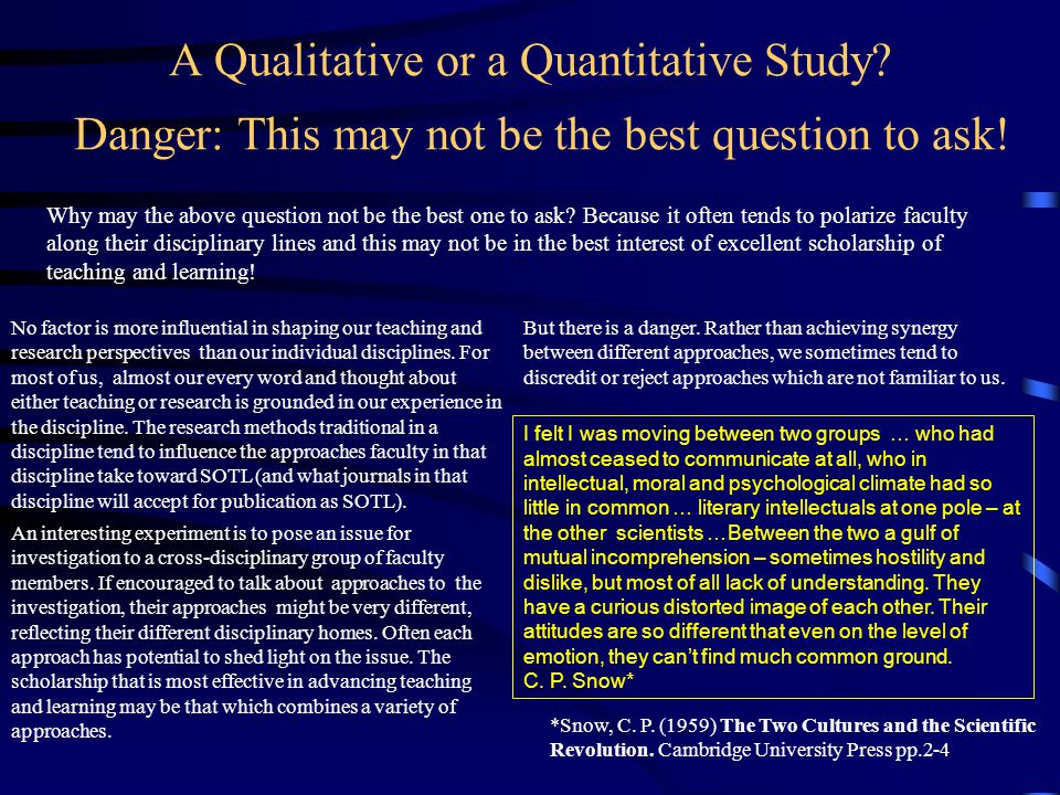 A Qualitative or a Quantitative Study