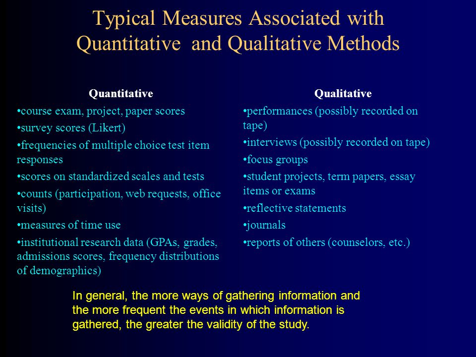 Typical Measures Associated with Quantitative and Qualitative Methods